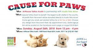 Cause for Paws Tattoopalooza @ Arthouse Tattoo | Austin | Texas | United States